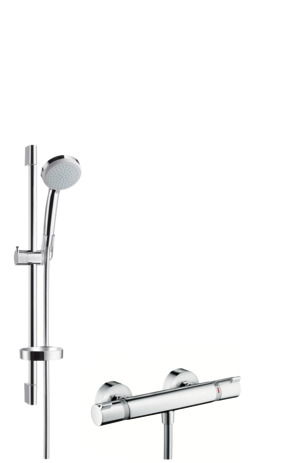 Shower system Vario EcoSmart 9 l/min with Ecostat Comfort thermostatic mixer and shower rail 65 cm