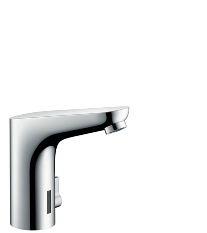 Electronic basin mixer 130 with temperature control and battery-operated