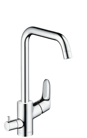 Single lever kitchen mixer 260 with shut-off valve for additional appliance, single spray mode