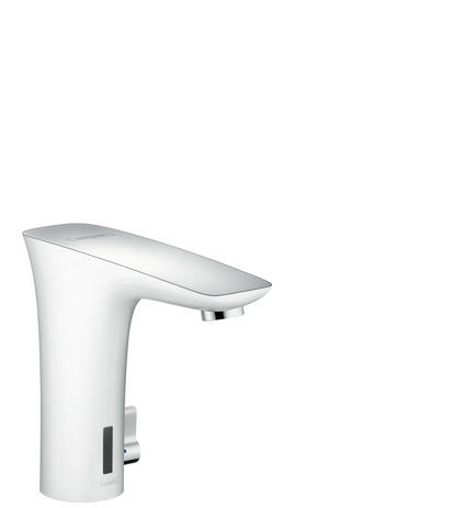 Electronic basin mixer with temperature control battery operation