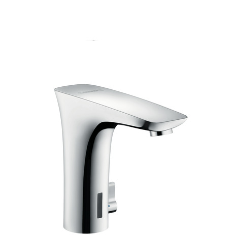 Electronic basin mixer with temperature control and battery-operated