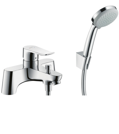 2-hole rim-mounted manual single lever bath mixer LowPressure min. 0.2 bar with diverter valve and Croma 100 hand shower Vario