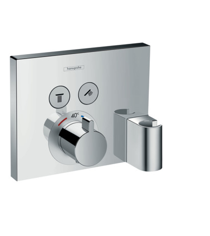 Thermostat for concealed installation for 2 functions with hose connection and shower holder
