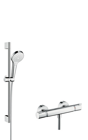 Shower system 110 Vario with Ecostat Comfort thermostatic mixer and shower rail 65 cm