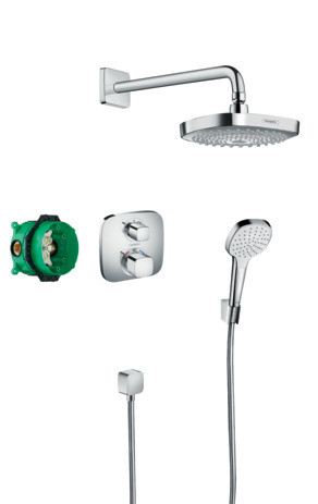 Shower system with Ecostat E thermostatic mixer for concealed installation