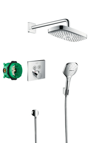 Shower system for concealed installation with ShowerSelect thermostat