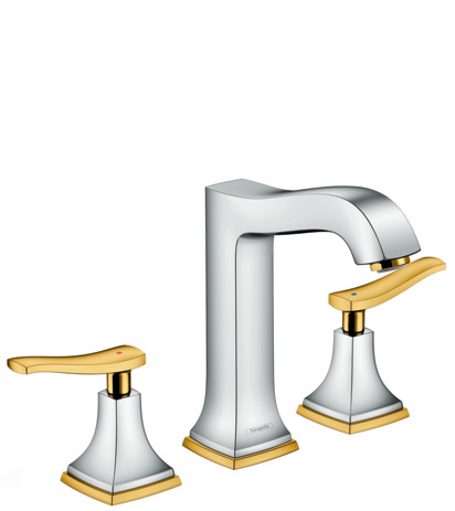 3-hole basin mixer 160 with lever handles and pop-up waste set