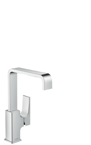 Single lever basin mixer 230 with lever handle and push-open waste