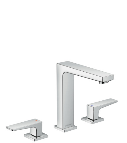 3-hole basin mixer 160 with lever handles and push-open waste set