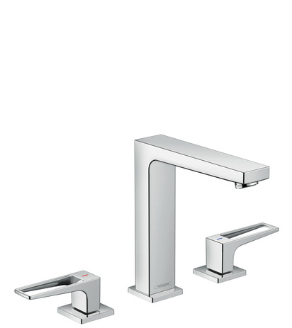 3-hole basin mixer 160 with loop handles and push-open waste set