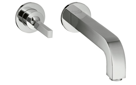 Single lever basin mixer for concealed installation wall-mounted with pin handle, spout 160 mm and escutcheons