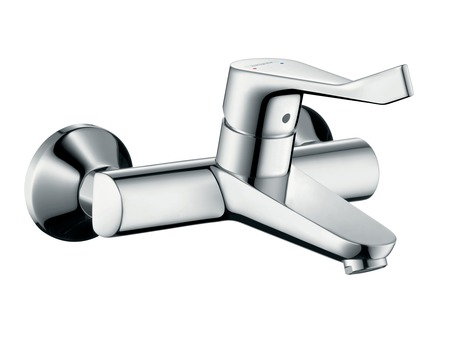 Single lever basin mixer for exposed installation with extra long handle