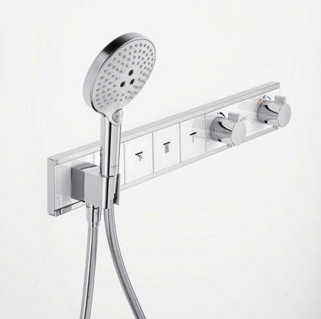 Thermostat for concealed installation for 4 functions with integrated shower holder