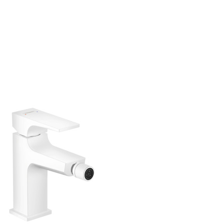Single lever bidet mixer with lever handle and push-open waste set