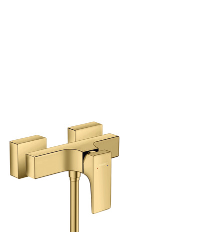 Single lever shower mixer for exposed installation with lever handle