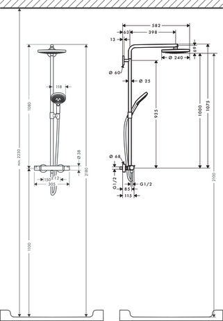 Showerpipe 240 2jet with thermostat