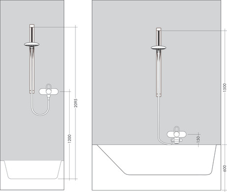 Shower set with shower bar 90 cm