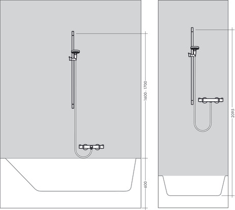 Shower system for exposed installation 150 with Ecostat Select thermostat and shower bar 90 cm