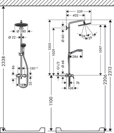 hansgrohe Croma 280: Croma Select S, 1 spray mode, 26791000
