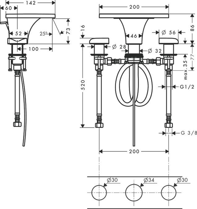 AXOR Massaud Grifería de lavabo: cromo, 18013000