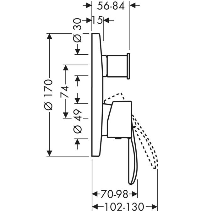 AXOR Starck Mitigeurs bain douche 2 sorties = 2 fonctions chromé