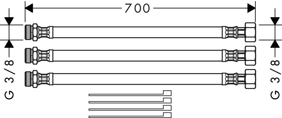 Axor Accessoires Rallonge Flexibles Pour Mitigeur 2 Trous 38960000