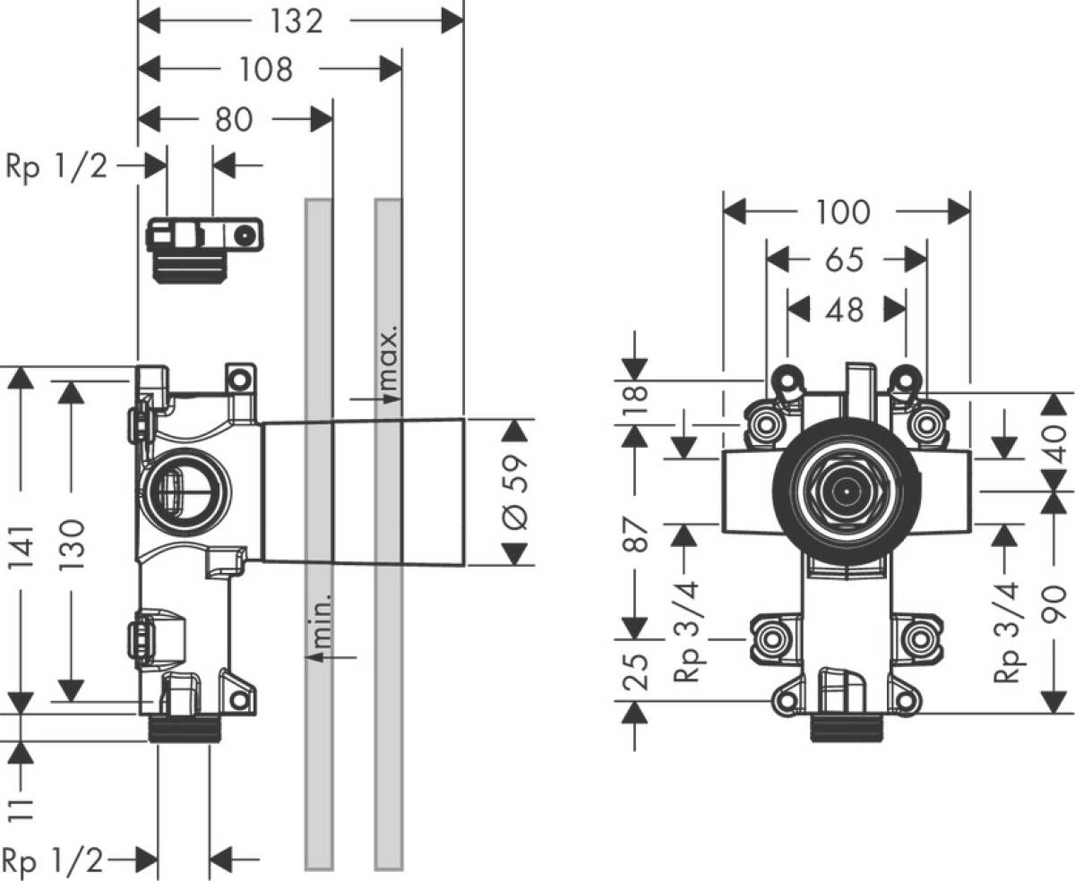 Axor Concealed Basic Set Bath Shower Mixers Citterio E Diverter Schematic Previous
