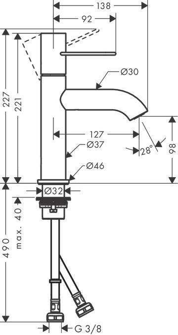 AXOR Uno Washbasin mixers: Chrome, 38026000