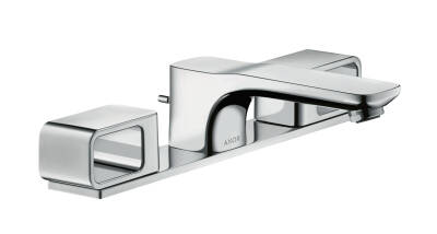 3-hole basin mixer 50 with plate and pop-up waste set