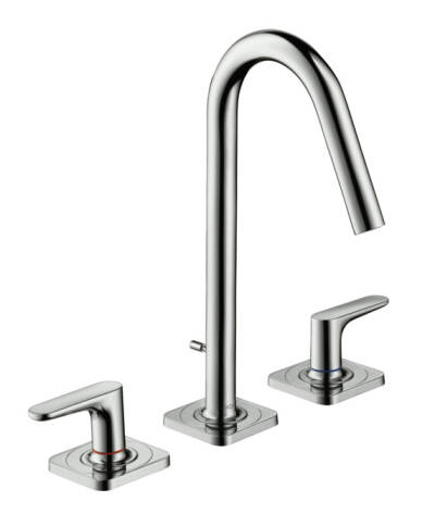 3-hole basin mixer 160 with lever handles, escutcheons and pop-up waste set