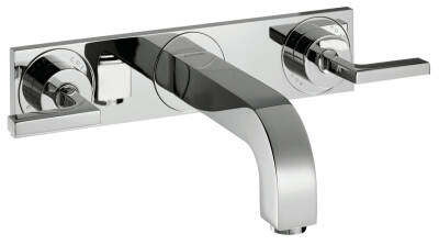 3-hole basin mixer for concealed installation wall-mounted with spout 226 mm, lever handles and plate