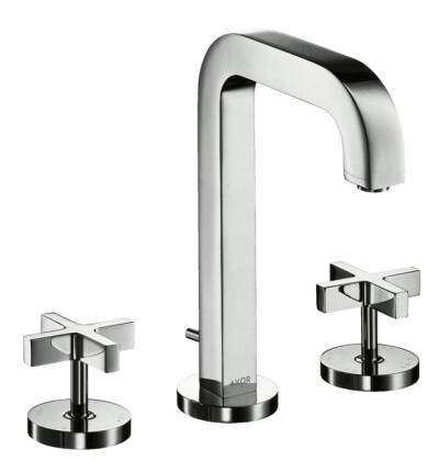 3-hole basin mixer with pop-up waste set and spout 205 mm, cross handles and escutcheons
