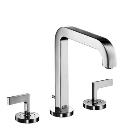 3-hole basin mixer with pop-up waste set and spout 205 mm, lever handles and escutcheons