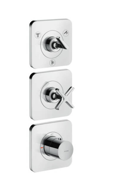 Thermostatic module 380/120 for concealed installation for 3 functions with escutcheons