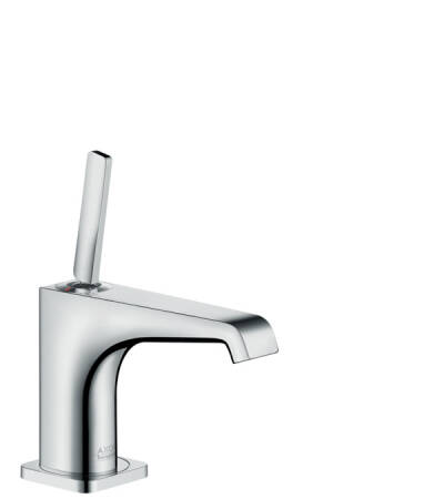 Single lever basin mixer 90 with pin handle for hand washbasins with waste set