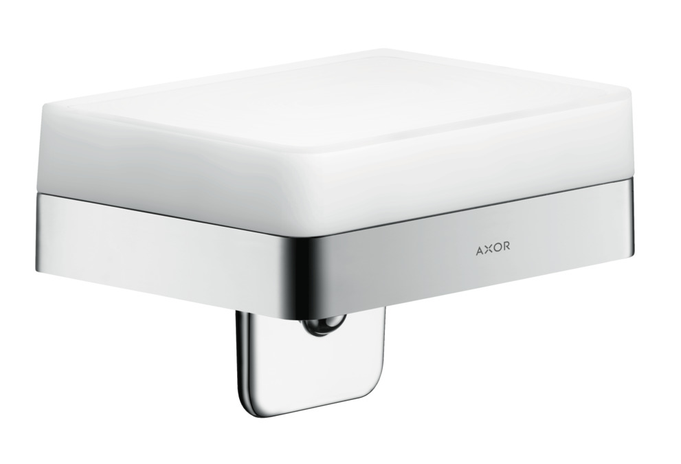 WALL MOUNTED HANSGROHE AXOR 42803000 UNIVERSAL SOAP DISH WHITE GLASS and CHROM
