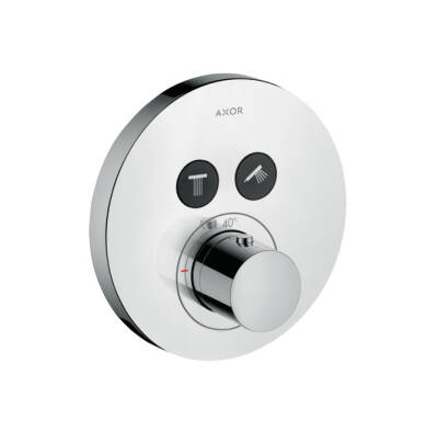 Thermostat for concealed installation round for 2 functions