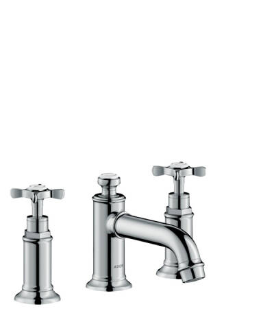 3-hole basin mixer 30 with cross handles and pop-up waste set