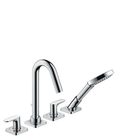 Grifería de 4 agujeros para montaje sobre borde de bañera con manecillas de palanca