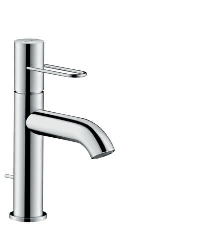 Single lever basin mixer 100 with loop handle and pop-up waste set