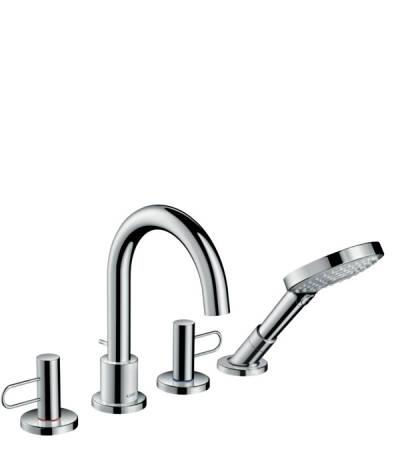 4-hole rim mounted bath mixer with loop handles