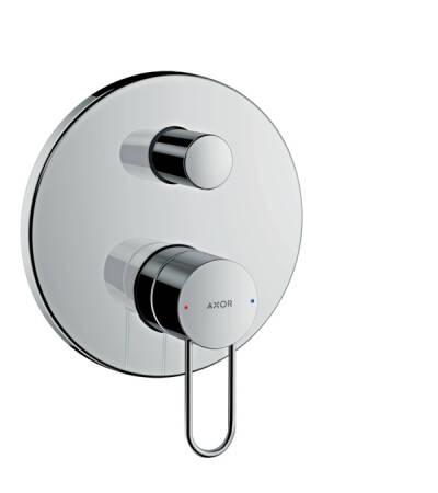 Single lever bath mixer for concealed installation with loop handle and integrated security combination according to EN1717