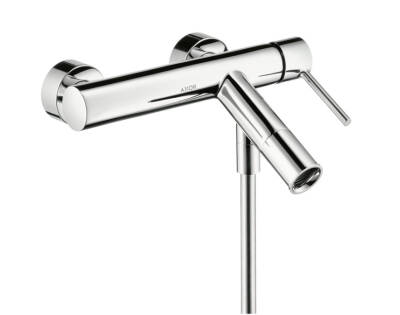 Single lever bath mixer for exposed installation with round lever handle