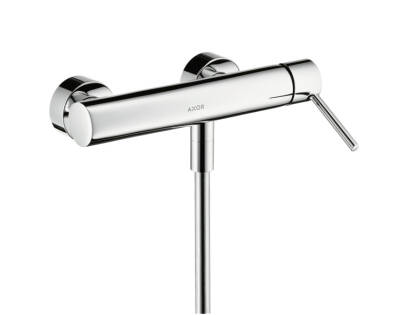 Single lever shower mixer for exposed installation with pin handle