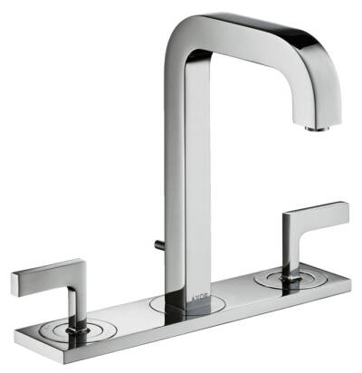 3-hole basin mixer 170 with spout 140 mm, lever handles, plate and pop-up waste set