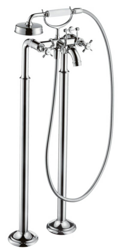 2-handle bath mixer floor-standing with cross handles