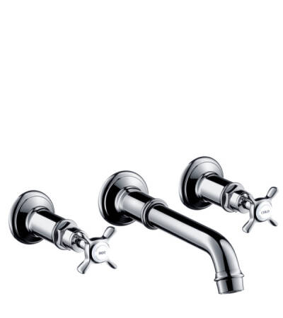 3-hole basin mixer for concealed installation wall-mounted with spout 165 - 225 mm and cross handles