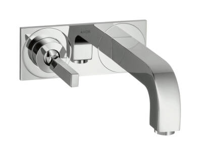 Single lever basin mixer for concealed installation wall-mounted with pin handle, spout 220 mm and plate