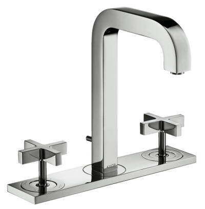 3-hole basin mixer 170 with spout 140 mm, cross handles, plate and pop-up waste set