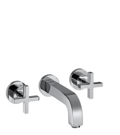 3-hole basin mixer for concealed installation wall-mounted with spout 162 mm, cross handles and escutcheons
